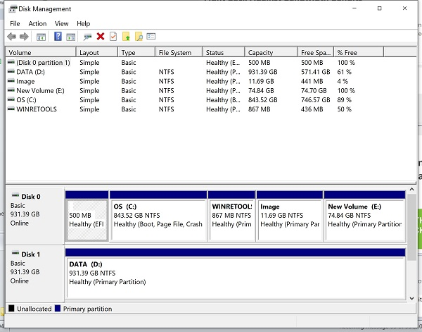 Disk Management in Windows - partions
